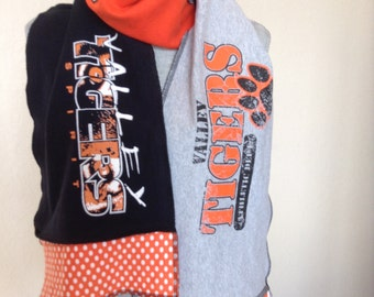 Valley Tigers Scarf, Valley Tshirt Scarf, Tigers Scarf, Upcycled Tshirt scarf, val7