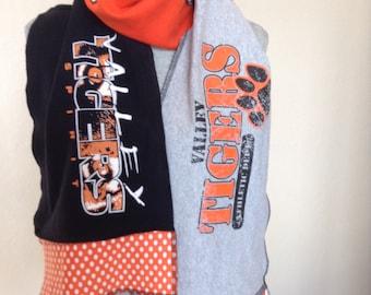 Valley Tigers Scarf, Valley Tshirt Scarf, Tigers Scarf, Upcycled Tshirt scarf, val7
