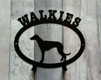 Walkies with Whippet Silhouette Dog Lead Holder Rack - metal wall art