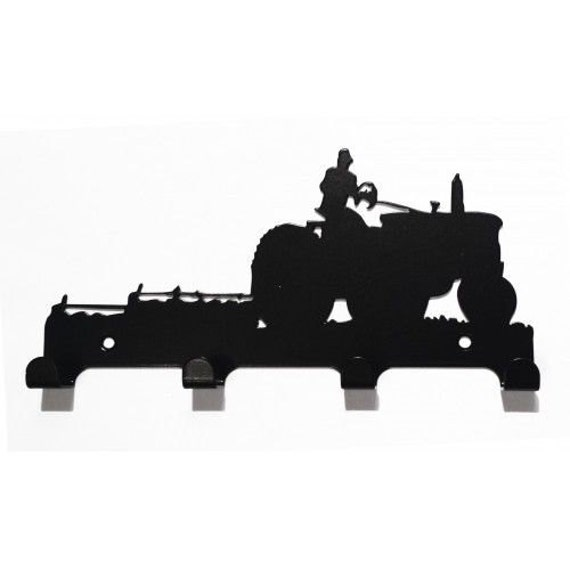 Farmer with Tractor and Plough Silhouette Key Hook Rack