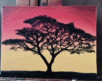 """African sunset 5""""x7"""" oil painting"""