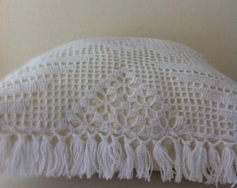 "Hand Crochet Cushion Cover 14""x14"""