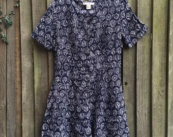 Vintage 90's Ladies Floral Blue Romper Playsuit Size UK MEDIUM