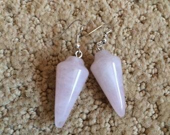 Rose quartz pendellum dangling earrings