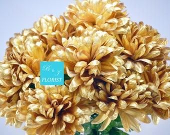 "22"" Gold Mum Bush - Artificial - 14 Flower Heads - Christmas Home Decor"
