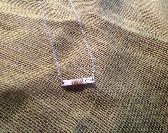 Wire wrapped bar necklace