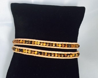 Chan Luu inspired tiny Tigers Eye 2 wrap bracelet!