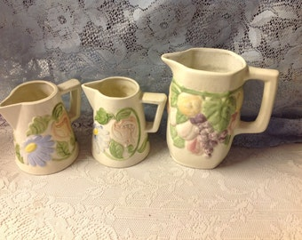 Sweet delicate Vintage Hand painted Floral Set of 3 Serving Creamer pitchers