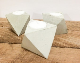 Geometric concrete/cement candle holder (set of 3)