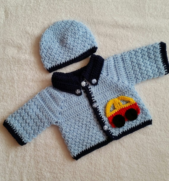 Baby Crochet Patterns Etsy : Car baby cardigan Crochet Pattern