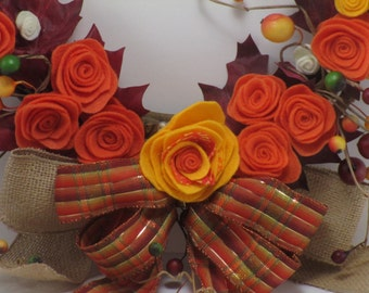 Wreath, Fall theme with Yellow and Orange Felt Flowers, Burlap