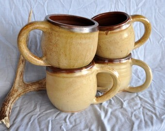 Brown and Tan Mugs, Ceramic Mug Set, Handmade North Carolina Pottery