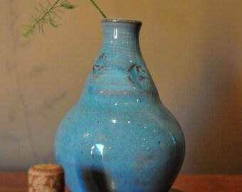 Light Blue Ceramic Bottle, Handmade North Carolina Pottery