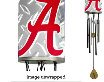 Alabama Crimson Tide Wind Chime, diamond plate wrapped the body