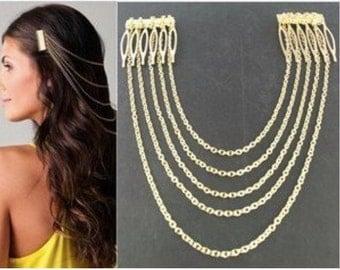 "The ""Rebecca"" 5 layer Comb Head Piece/ Tassel Head Chain/ HAIR ACCESSORIES/ REAdy to Ship"