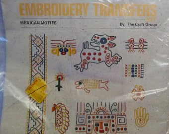 Vintage Columbia Minerva Embroidery Transfers Kit Mexican Motifs 6555  1974 Unopened Rare New Old Stock