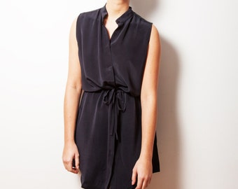 SUSANNA black silk dress   drawstring waist with mandarin collar