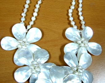 Five Mother of Pearl Flower Necklace, Fresh Water Pearl