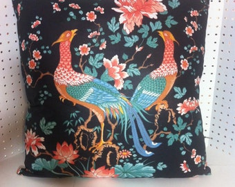 Stroheim & Romann with a Ralph Lauren Back Beautiful Tangarine and Turquoise Birds with other Multi-Colors Pillow Cover Pattern is Loyang