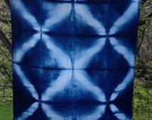 Indigo Shibori Tea Towel - Itajime -pure linen