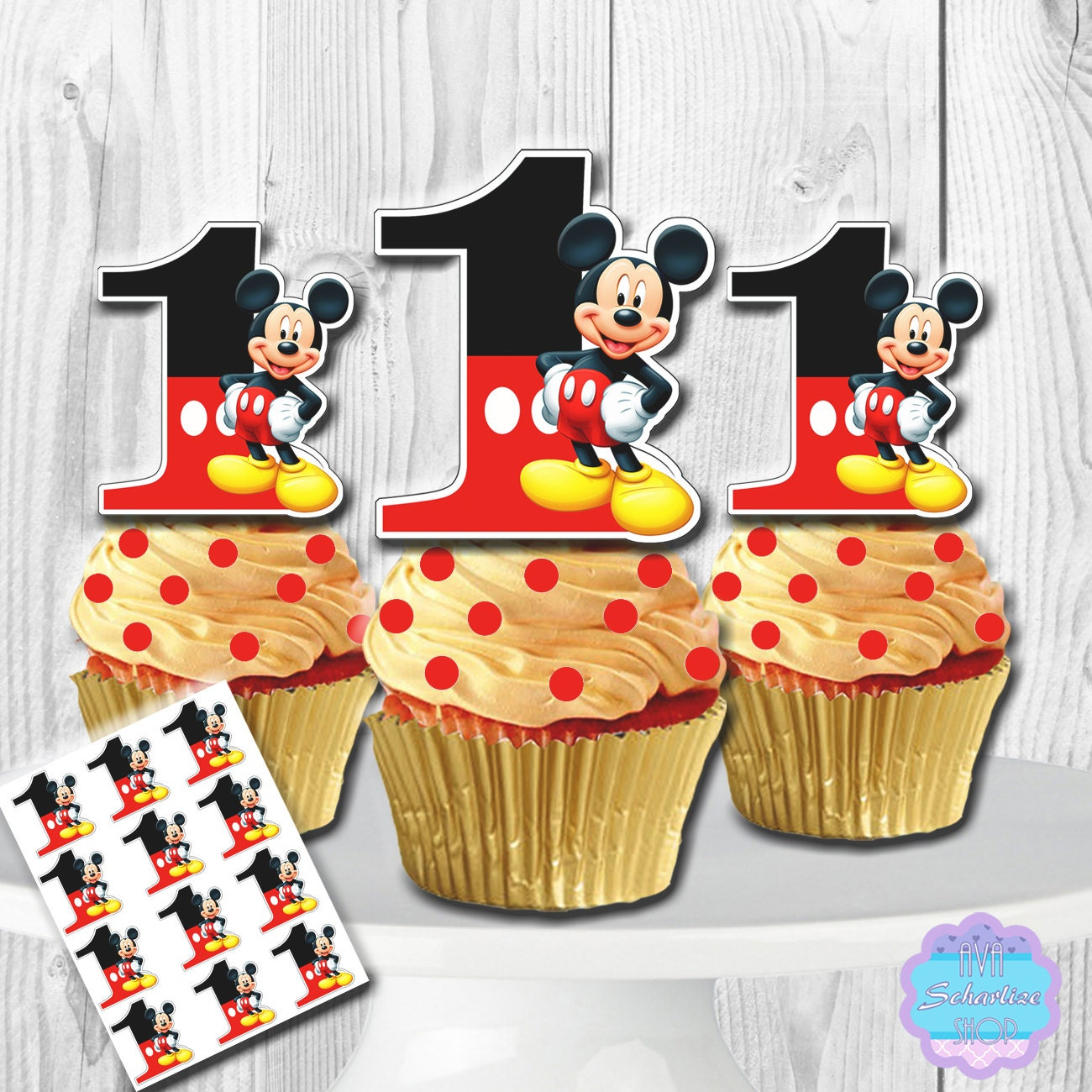 PRINTABLE Mickey Mouse Cupcake Toppers Cupcake Picks INSTANTMickey Mouse Cupcake Toppers