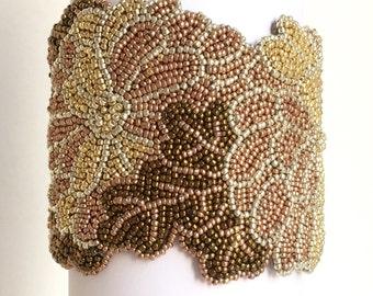 Kimono. Bead embroidered statement cuff bracelet