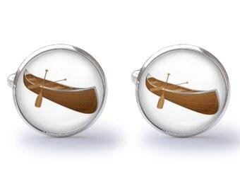 Canoe Cufflinks - Wooden Canoe Cuff Links - Boat Cufflink - Nautical Cuff Links (Pair) Lifetime Guarantee (S0670)