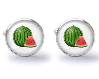 Watermelon Cufflinks - Watermelon Cuff Links - Melon Cufflink - Fruit Cuff Links (Pair) Lifetime Guarantee (S0238)