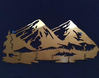 Metal Snow Capped Mountain KeyHolder