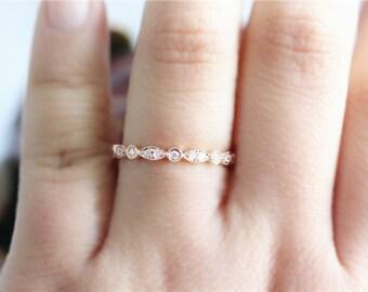 0.22ct 14k Rose Gold Diamond Wedding Band/Channel setting Diamonds Band/Half Eternity Diamond Band/Wedding Ring/Match Band