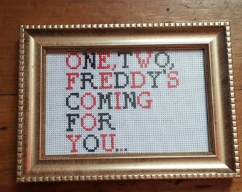 """Nightmare on Elm Street inspired cross stitch. """"One, two, Freddy's coming for you."""""""