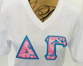 DELTA GAMMA specialty Lilly Pulitzer Greek Letters stitched-on  American Apparel v-neck t-shirt.