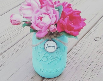 Mason jar for candles or flowers! More colors/words available!  Free shipping!
