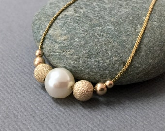 Gold Pearl Necklace, White Pearl Gold Necklace, Pearl Wedding Necklace, Bridal Pearl Jewelry, Beaded Wedding Necklace, Statement Necklace