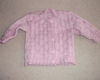 dusky pink baby cardigan this item can be made in the colour and size of your choice