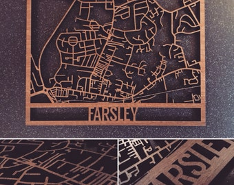 Intricately Laser Cut Walnut Veneered Farsley Map Wall Art