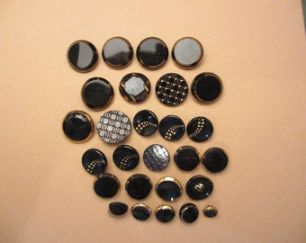 Charming Lot of 27 Vintage Victorian Black Glass Buttons with Gold Luster