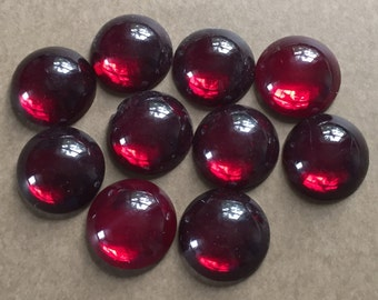 Vintage Glass Cabochons, Ruby Red Cabochons, Round Cabs, Glass Cabs, Silver Lined Bottom, New Old Stock, Circa 1950's, 10 Pieces, 16mm