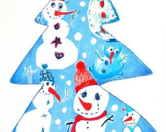 Snowman Illustration, Winter Illustration, Kids Illustration, Kidsroom Decor, Nursery Decor, Christmas Decor, Christmas Gift, Wall Art
