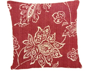 Decorative Pillow Cover, Throw Pillow cover Brick Red Floral