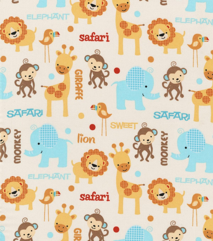Pre cut 1 5 yards cotton fabric sweet safari jungle for Kids jungle fabric