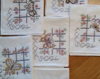 Kitchen towels, Floursack, New, Hand embroidered, appliqued,  days of the week.  100% cotton, set of 7 towels, butterflies