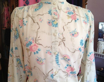 Vintage 1980's Skirt and Blouse Combo * Rose and Fan Print * XS