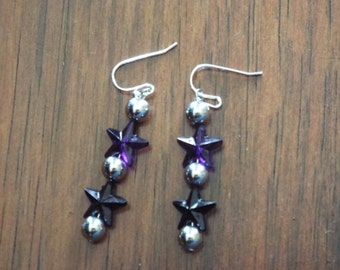 Purple Star Dangle Earrings