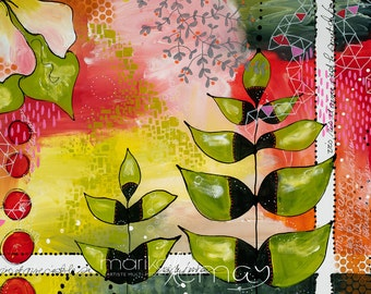 Nature Greeting card with plants and flowers 5x7 by Marika Lemay mixed media artist blank inside floral art
