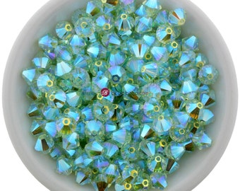 12 Chrysolite AB2X (6mm) Swarovski Crystal 5328 XILION Bicones