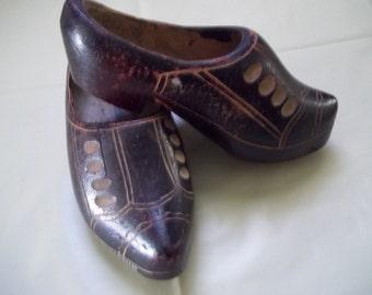 Belgium Hand Carved Wooden Souvenir Shoes