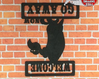 Welcome/Go Away Sign, Man Cave, Wall Decor, & FREE SHIPPING!