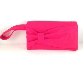 Pink Bow Wristlet