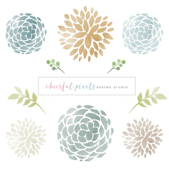 High resolution watercolor floral round elegant flowers - High resolution watercolor flowers ...